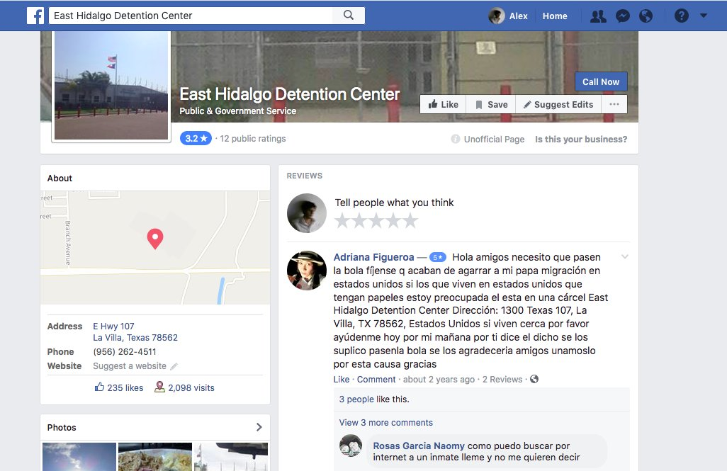 East Hidalgo Detention Center FB Page